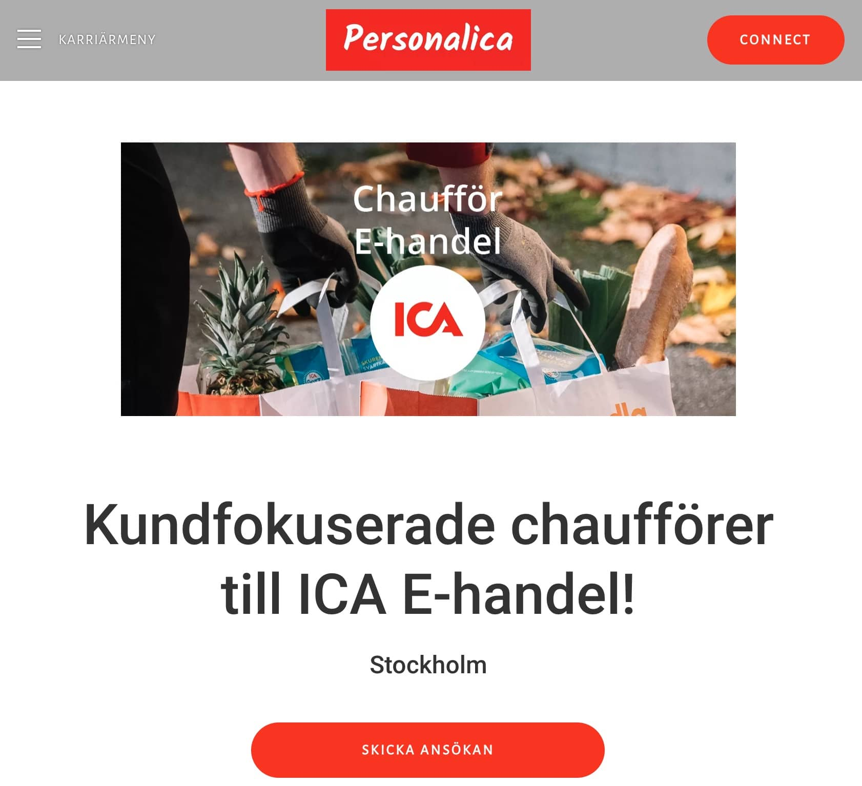 ICA Chaufför annonsbild Bemannica